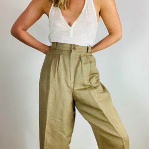 Vintage Linen High Rise Pleat Front Tapered  Pant